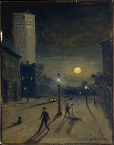 Louis Michel Elishemius New York at Night, 1910,oil on cardboard. Met Museum. Gift of Adelaide Milton DeGroot, 1967. Accession number 158.