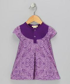 Take a look at this Purple Parlor Pleated Organic Henley Dress - Toddler & Girls by violet + moss on #zulily today!