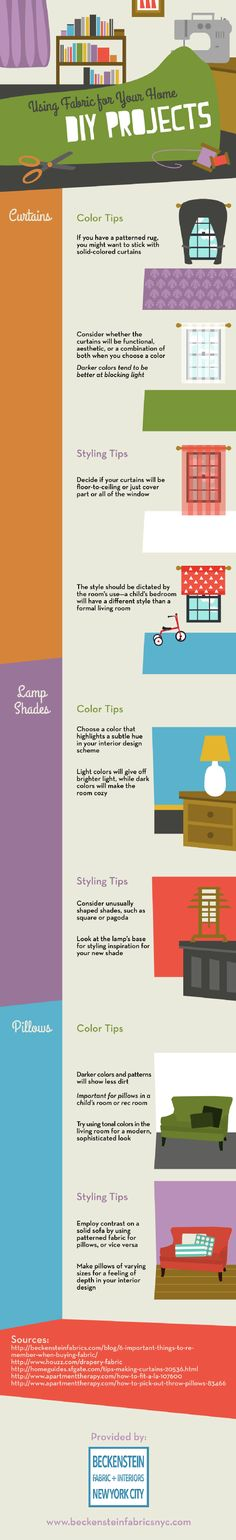 Stylish lampshades add a lot to a room's décor. With pretty colors and unusual shapes, it is easy to create some visual stimulation for a space. Check out this infographic from a fabric store in New York for more great ideas.