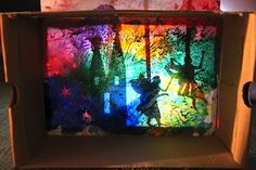 melted crayon background for shadow puppets