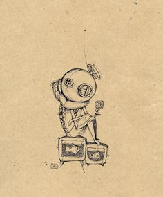 Thinking by ~MrSithZam on deviantART Tinta China, Artist Pens, Illustration Art, Book Illustrations, Art Sketchbook, Traditional Art, Doodle Art, Line Art, Fantasy Art
