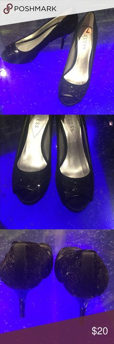 GUESS Sequin Heels These darling heels are black sequin with peep toe design. Size 7. Guess Shoes Heels
