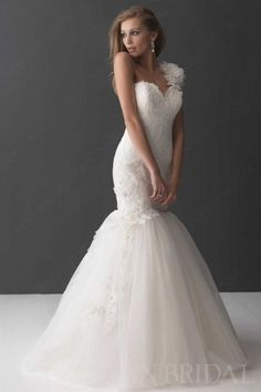 Floral One-shoulder Sweetheart Lace Tulle Mermaid Wedding Dress