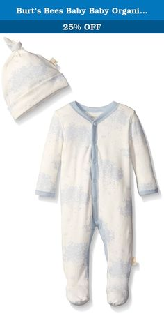 Burt's Bees Baby Baby Organic Toile Snap Front Coverall and Hat Set, Sail Blue, 3-6 Months. This comfy coverall is perfect for an adventurous day! the toile print and footed feature make it easy to crawl comfortably in style. Throw on the matching knot top hat for a head to toe look.