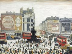Laurence Stephen Lowry Piccadilly Circus, London 1960 x cm) Piccadilly Circus, Tate Britain, Spencer, English Artists, British Artists, London Art, London Photos, Naive Art, Paint Set