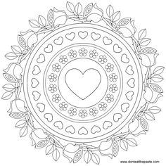 Roses and forget-me-nots mandala to color - a nice embroidery or quilting idea Mandala Coloring Pages, Coloring Pages To Print, Coloring Book Pages, Printable Coloring Pages, Coloring Sheets, Happy Birthday Coloring Pages, Coloring Pages For Grown Ups, Embroidery Designs, Mandalas Painting