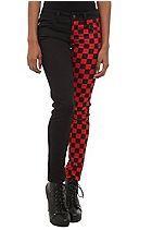Royal Bones Red Checker Split Leg Skinny Jeans