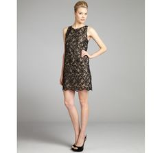 ERIN Erin Fetherston black and nude floral embroidered chiffon shift dress.  I love the scalloped hem.