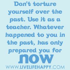 Don't torture yourself over the past. Use it as a teacher. Whatever happened to you in the past, has only prepared you for now.
