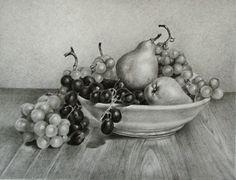 """""""Natura morta con uva e pere"""" Matita su carta"""