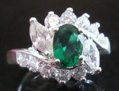 Green Emerald .76 carat White Sapphire 10 kt White Gold Filled Ring Size 9.5 #Unbranded #Cocktail