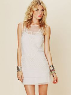 Free People Geometric Lace Shift Dress at Free People Clothing Boutique