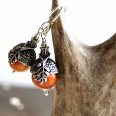Acorn Earrings with Antiqued Silver Caps and Redwood Beads