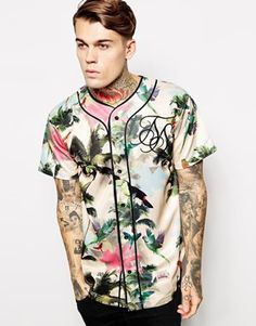 SikSilk Tropical Baseball Jersey. A brighter touch on the popular baseball trend, this top looks great with light chinos for summer or with a black long-sleeve top under for colder days! http://asos.to/1nYxyLs