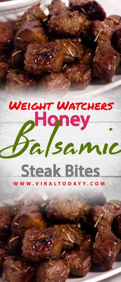Steak Bites are a fun twist on a traditional steak. Honey Balsamic Steak Bites won't disappoint on flavors either. These are fun as an appetizer or served Ww Recipes, Steak Recipes, Dinner Recipes, Cooking Recipes, Healthy Recipes, Weight Watcher Dinners, Thing 1, Steak Bites, Healthy Eating Tips