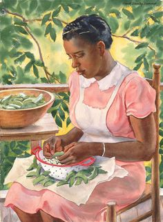 Laura Shelling Butter Beans by Frank Stanley Herring / American Art