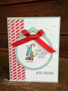 Here is another card we made at my Card Club workshops this month.  The Making Spirits Bright Stamp Set  is one of my favorite pro...