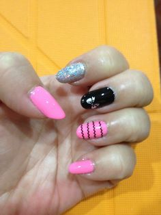 Pink nails with bow accent/black strips accent nailart