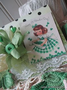 vintage St. Patricks day card-little girl and SHAMROCKS handmade card      CARDS DO NOT COME WITH ENVELOPE