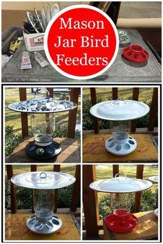 Mason jar bird feeders