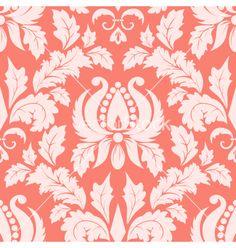 Vintage damask seamless salmon pattern vector - by GarryKillian on VectorStock®