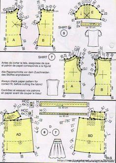 Blouse n skirt lutterloh pattern system Barbie Patterns, Sewing Patterns, Sewing Clothes, Doll Clothes, Make Your Own Clothes, Pattern Drafting, Sewing Techniques, Pattern Making, Refashion