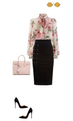 """""""Marilyn"""" by luxuryfashion5 ❤️ liked on Polyvore featuring Dolce&Gabbana, Christian Louboutin, Hakusan and Yves Saint Laurent"""