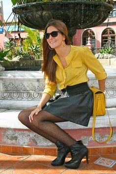 Yellow Blouse, Leather Skirt And Booties