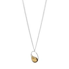 love RAINDROP IN OVAL NECKLACE - STERLING SILVER | Silver and Glass Drop Necklace, Jess Panza | UncommonGoods