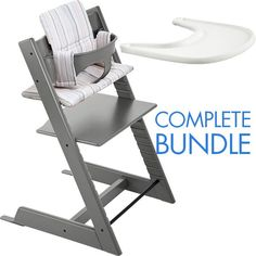 The Stokke Tripp Trapp High Chair Complete 4-Piece Bundle includes the innovative, award-winning Stokke Tripp Trapp chair plus a baby set, a cushion and a tray! www.rightstart.com