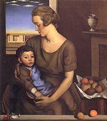 Achille Funi. Pintor italiano abscrito al grupo novecentista. (Ferrara 1890-Appiano Gentile 1972) Maternidad, 1921