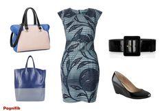 Robe droite Sika Designs  - Sac bleu/noir/beige Satchel (ou sac ac bleu/gris Céline)  - Chaussures noires compensées Aldo  - Ceinture Yves Saint Laurent à la place de la ceinture wax d'origine