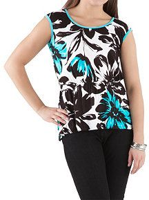 Floral Print Scoop Neck Top with Key Hole Back