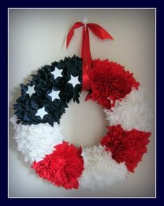 American Flag Fabric Wreath Red White and Blue by ohsewblessedboutique for $39.95 #zibbet