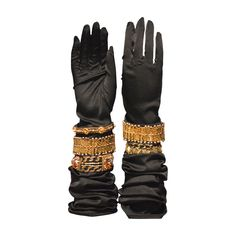 1980s Never Seen Before Isabel Canovas Limited Edition Black Satin Gloves | See more vintage Gloves at http://www.1stdibs.com/fashion/accessories/gloves in 1stdibs