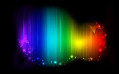 Rainbow Blob with Butterflies on a Dark Background