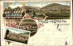 Litho Wallau Biedenkopf, Trachten Hessen, Stadtpanorama, Mädchen #Biedenkopf