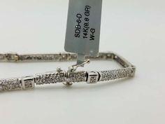 14k White Gold 1.00ct Round Diamond Pave Bracelet
