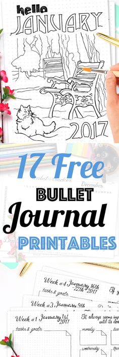 17 Pages Strong Free Bullet Journal Printable Kit • January 2017. Including Habit Tracker, January Memories, Monthly Log and many more beautiful pages. // by Wundertastisch Design
