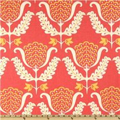Baby room inspiration fabric. LOVE the coral, marigold yellow and cream colors. Accent with turquoise or mint green. Waverly One Wish Azalea  Item Number: UG-431  Our Price: $14.98 per Yard