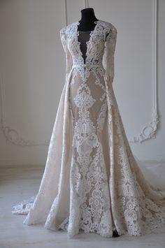 New Long Sleeves Lace Wedding Dress – daisystyledress Beaded Wedding Gowns, Bohemian Wedding Dresses, Wedding Dress Styles, Dream Wedding Dresses, Wedding Attire, Bridal Dresses, Lace Wedding, Muslimah Wedding Dress, Mode Abaya