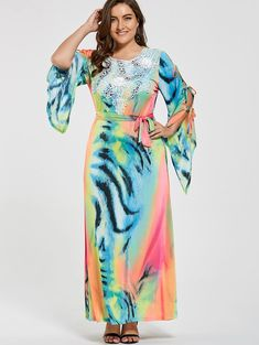 778fa1b9 Plus Size Ombre Printed Slit Sleeve Maxi Dress - multicolorCOLOR 5XL Ombre,  Maxi Dress With