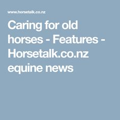 Caring for old horses - Features - Horsetalk.co.nz equine news