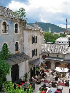 Terrace with cafes in Mostar, Bosnia and Herzegovina