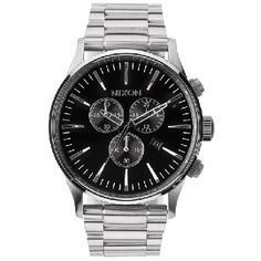 Nixon Mens Nixon The Sentry Chrono Watch - Black Movement: Miyota Japanese quartz 6 hand chronograph with date placement at 4 hour and a 24hr subdial