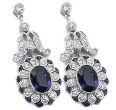 Art Deco Style  2.25ct Oval Sapphire Diamond Floral Drop Earrings