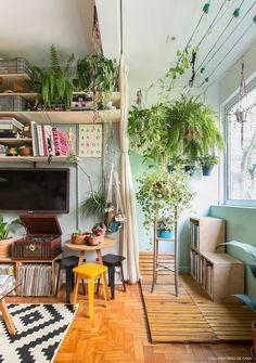 Quitinete com espaços integrados e varanda interna com plantas suspensas