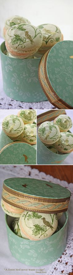 These hand painted macroons are divine!  And I have a love affair with birds!