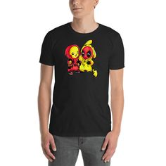 a7fd989a3 Pikapool Pikachu Deadpool -Black Men Unisex T-Shirt  fashion  clothing   shoes