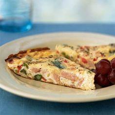 For Easter brunch.  Ham and Asparagus Frittata | MyRecipes.com